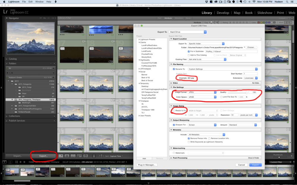 Exporting time lapse Jpegs.