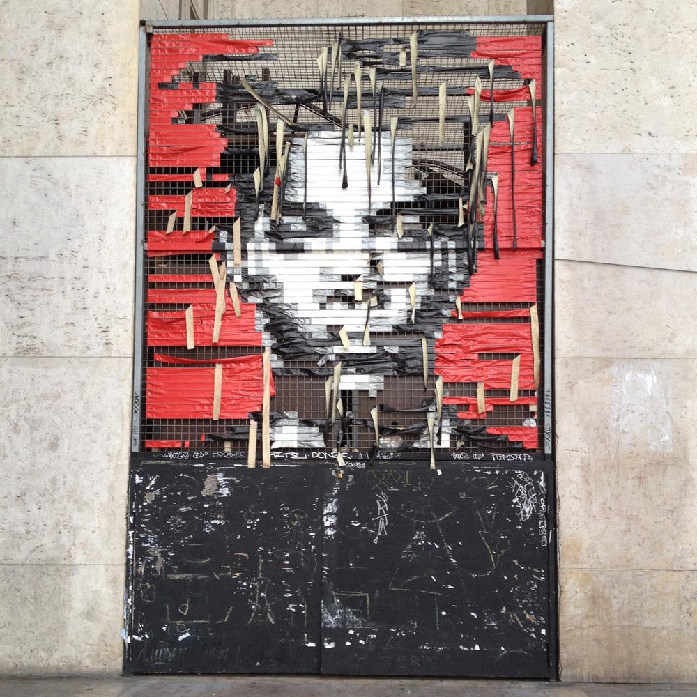Jean-Michel Basquiat gaffer tape incarnation at Palais de Tokyo