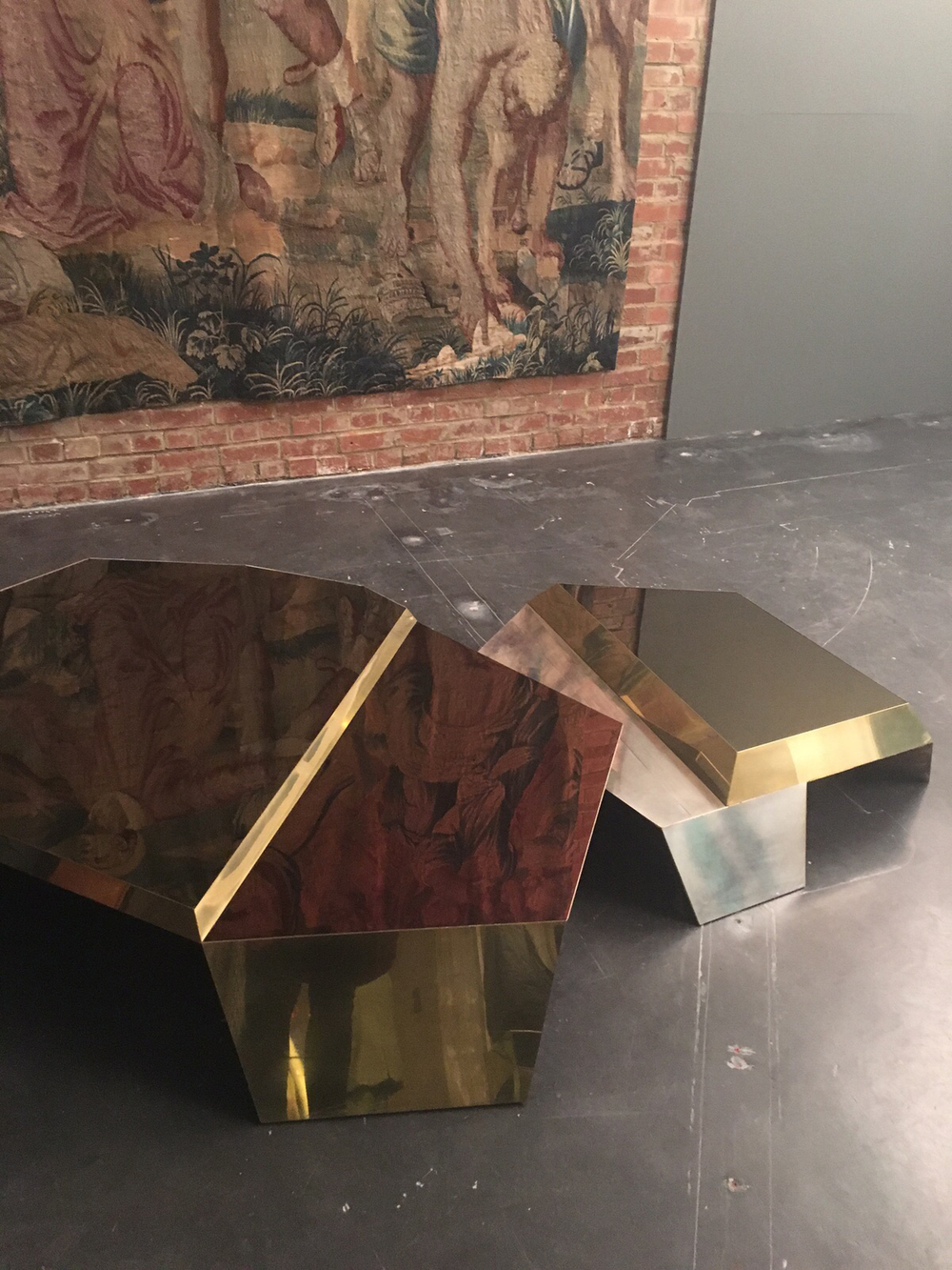 DC1306B Coffee Table in plated steel and brass.