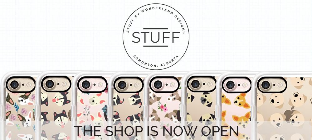 stuffxwonderland casetify shop announcement on ashleyfisher.ca