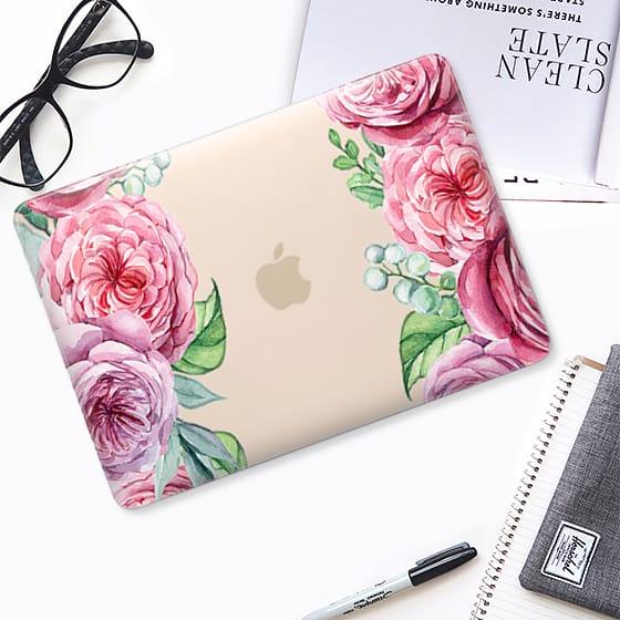 watercolour english rose garden macbook case by stuffxwonderland on casetify