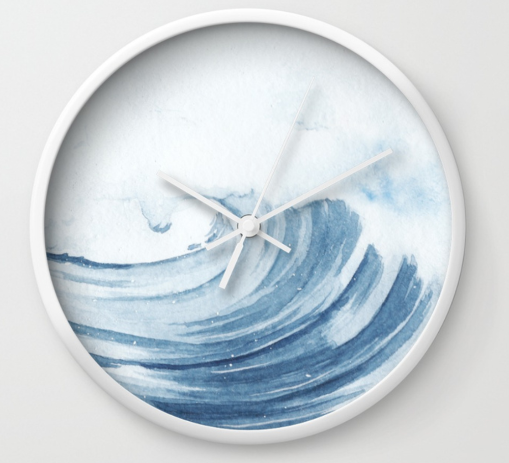 ocean wave wall clock by stuffxwonderland for society6 on ashleyfisher.ca