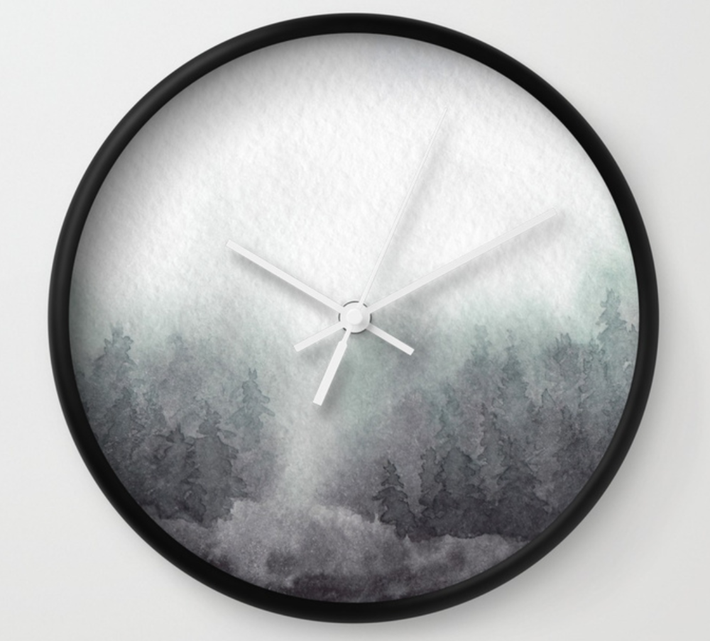 misty forest wall clock by stuffxwonderland for society6 on ashleyfisher.ca
