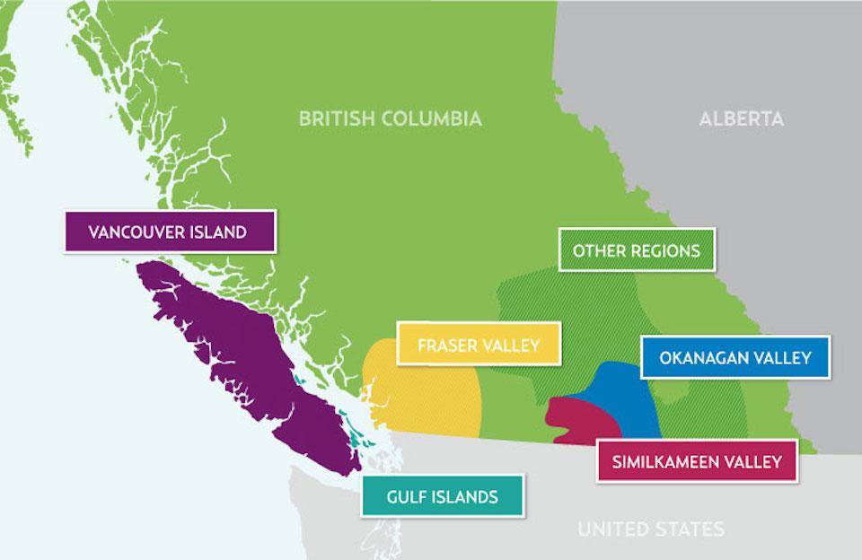 BC Wine Map Okanagan Valley Wine Region on AshleyFisher.ca