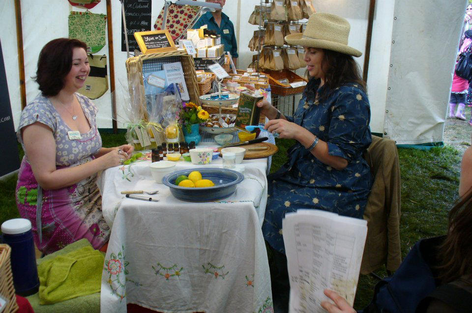 Making Kirsties Handmade Handscrub with Kirstie Allsopp during filming at the Nidderdale Show.