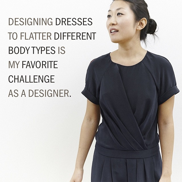 Our Easy T-shirt dress features a hand-pleated bodice and skirt that's designed to skim and elongate the waistline. #designedwithintent