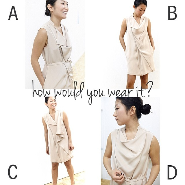 Monica, our designer, demonstrates her favorite ways to wear our Two-Way Zip Dress. How would you wear it? #designedwithintent