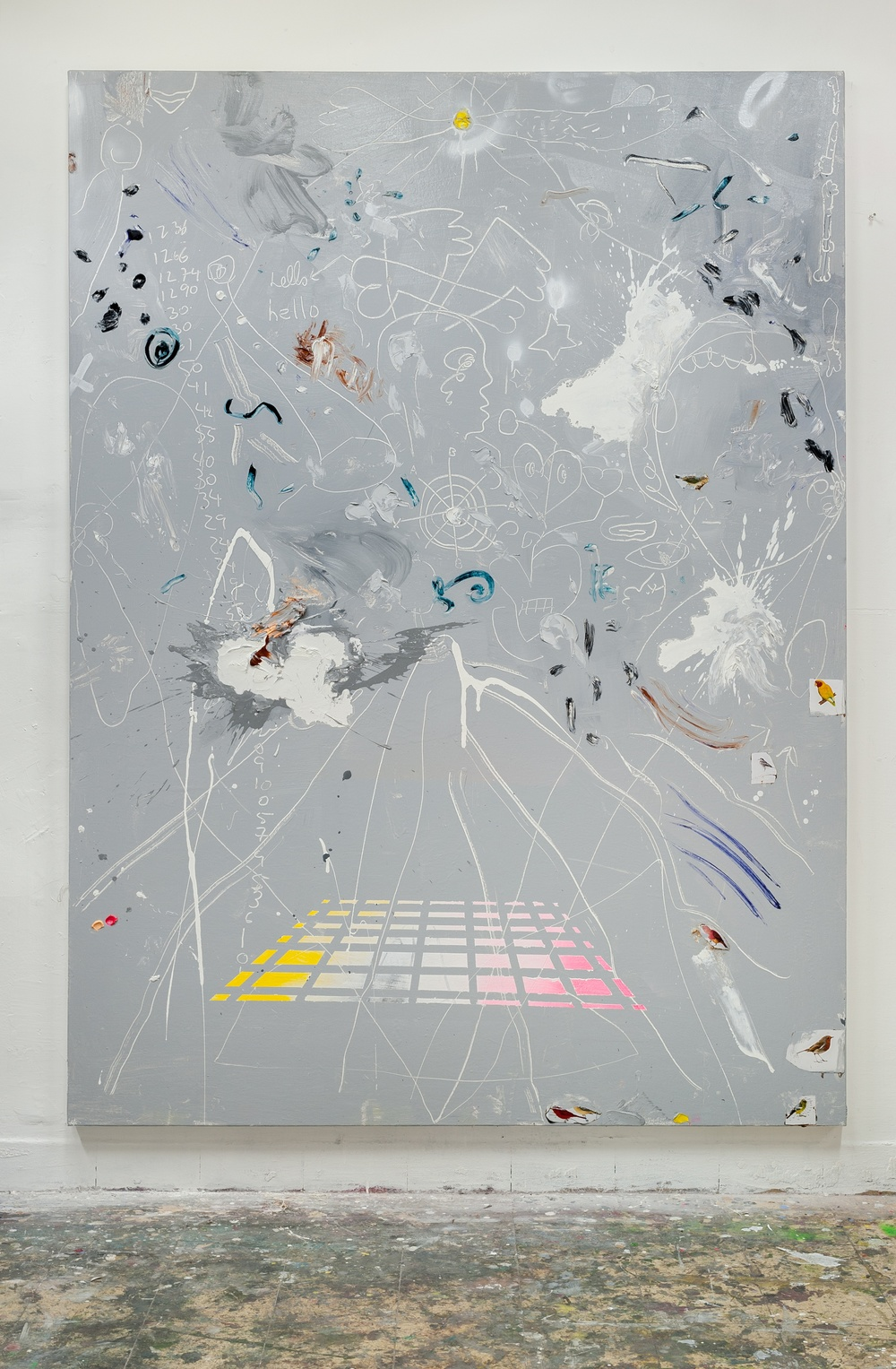 THE SECOND DREAM, 2012   pencil, spray paint and collage on canvas, 198x147cm