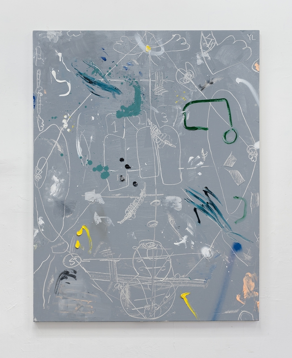 PINBALL, 2012   oil and  spray paint on canvas, 128x100cm