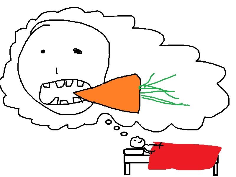 Jordan dreams of fresh carrots almost every night.