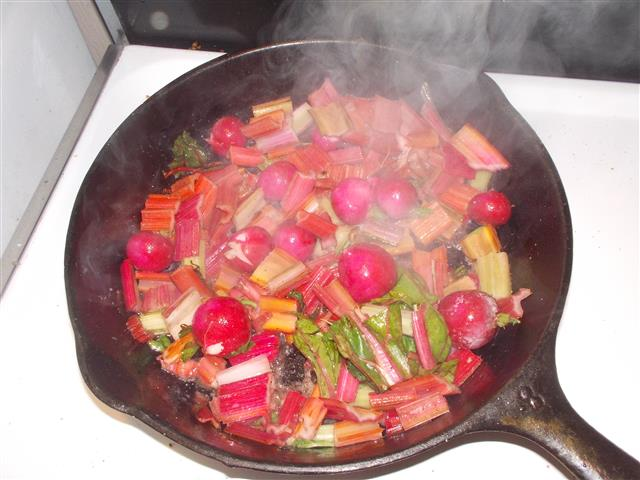 The other day I had some extra Chard and radishes. Together they make for some brilliant colours in the pan. Many don't realize that radishes sauteed or braised are super good. Use lots of butter if you dare.