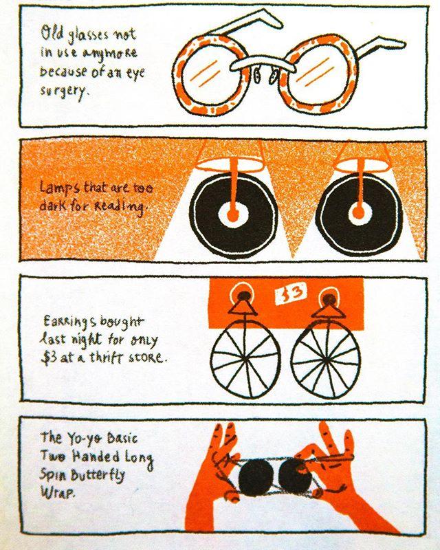 """Things that look like a _._._._._._._"" . . . . . #zines #comics #illustration #riso #risograph #risoprint #womenwhodraw #bikelife #bike"