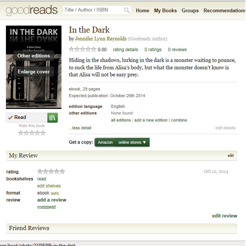"In The Dark goes live tomorrow and is FREE. You can add this short story to your Goodreads ""to-read"" list now at: https://www.goodreads.com/book/show/23358309-in-the-dark"