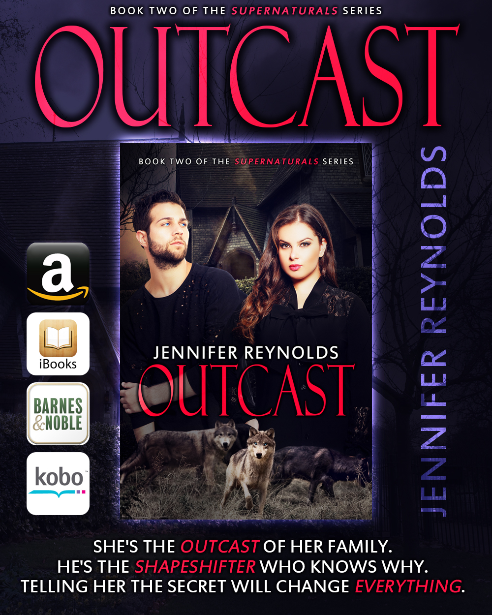 Outcast, Supernaturals Book 2, a BBW paranormal/shifter romance is $2.99.  Leigh Alexander has lived every day of her life feeling like an outcast amongst her family and the small-minded people of Pine Hollow, a secretive community to which her parents belong. When Danielle, Leigh's younger sister, asks Leigh to come home for her wedding, Leigh's torn between wanting to be there for her sister and saving herself from people who've despised her all of her life.  Knowing she'll regret her decision, Leigh gives into her sister and goes home for what she hopes is the last time. Leigh was prepared for people to ignore her, for them to shun her, for them to point out all the ways she didn't belong all because she wasn't a size perfect, but what she hadn't been prepared for was falling for Ryan Hart, a man who she will soon learn knows all of the secrets her family and the town of Pine Hollow refuse to tell her.  Revealing the truth about Pine Hollow and the rest of the supernatural world might be forbidden, but to save Leigh's life, Ryan will tell her everything about who she is, or more importantly who she isn't, even if it will forever change her life and the lives of every person in Pine Hollow. Outcast is a full-length, stand-alone eBook.   Amazon   iTunes    NOOK    Kobo    Read the first eight chapters of Outcast on Goodreads at:   Outcast    Chapter 1   Chapter 2    Chapter 3    Chapter 4   Chapter 5    Chapter 6    Chapter 7     Chapter 8