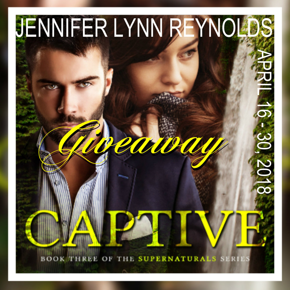 Hop over to Tome Tender and enter my giveaway!!!  I'm giving away five eCopies of Captive, a $10.00 Amazon Gift Card, and a paw print necklace from Windy's Wimsy.    http://tometender.blogspot.com/2018/04/captive-by-jennifer-lynn-reynolds_16.html     https://www.goodreads.com/event/show/1034322-jennifer-lynn-reynolds-s-captive-lyn-horner-s-tempting-adam