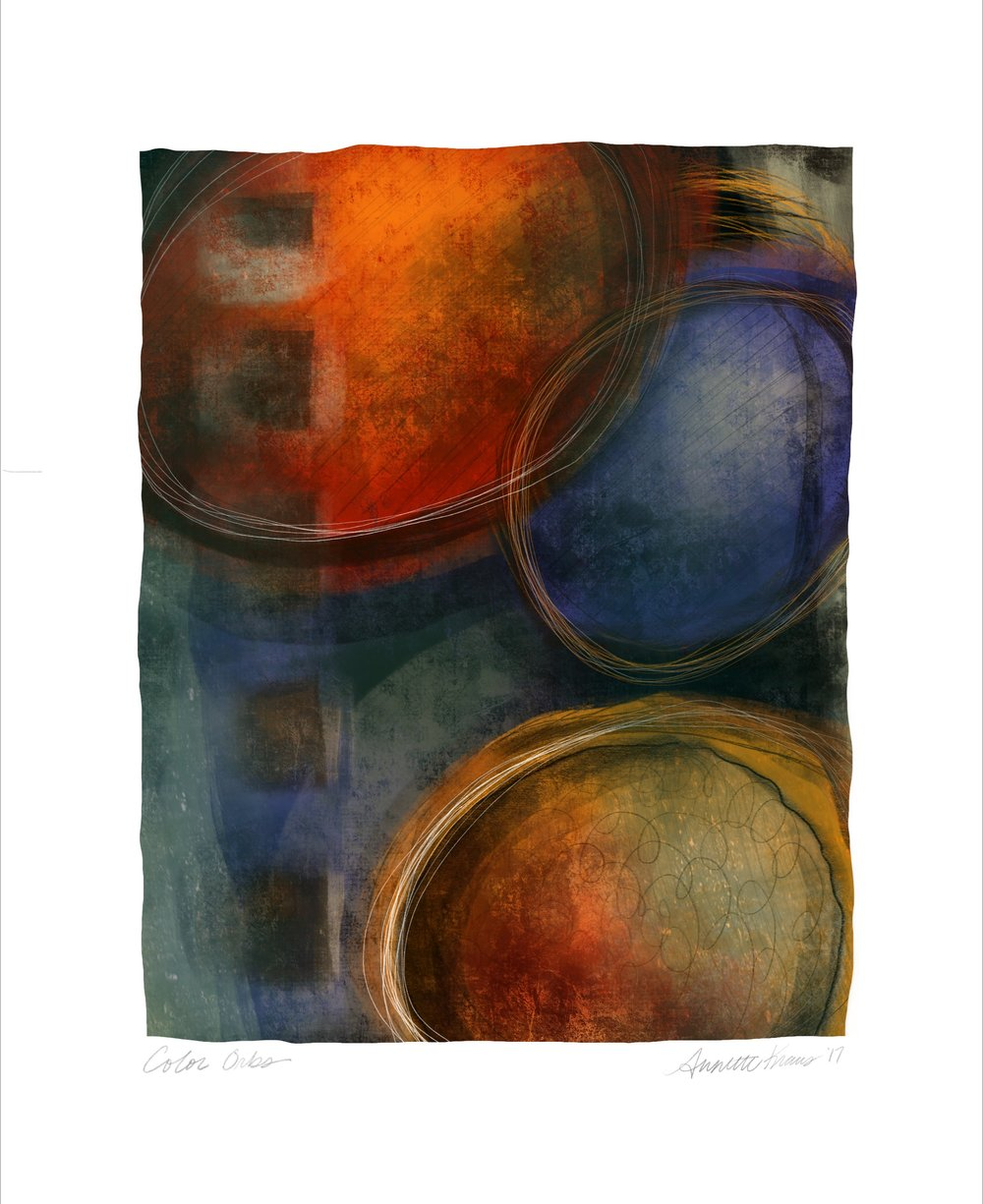 New work today on paper titled : Color Orbs 16x 20