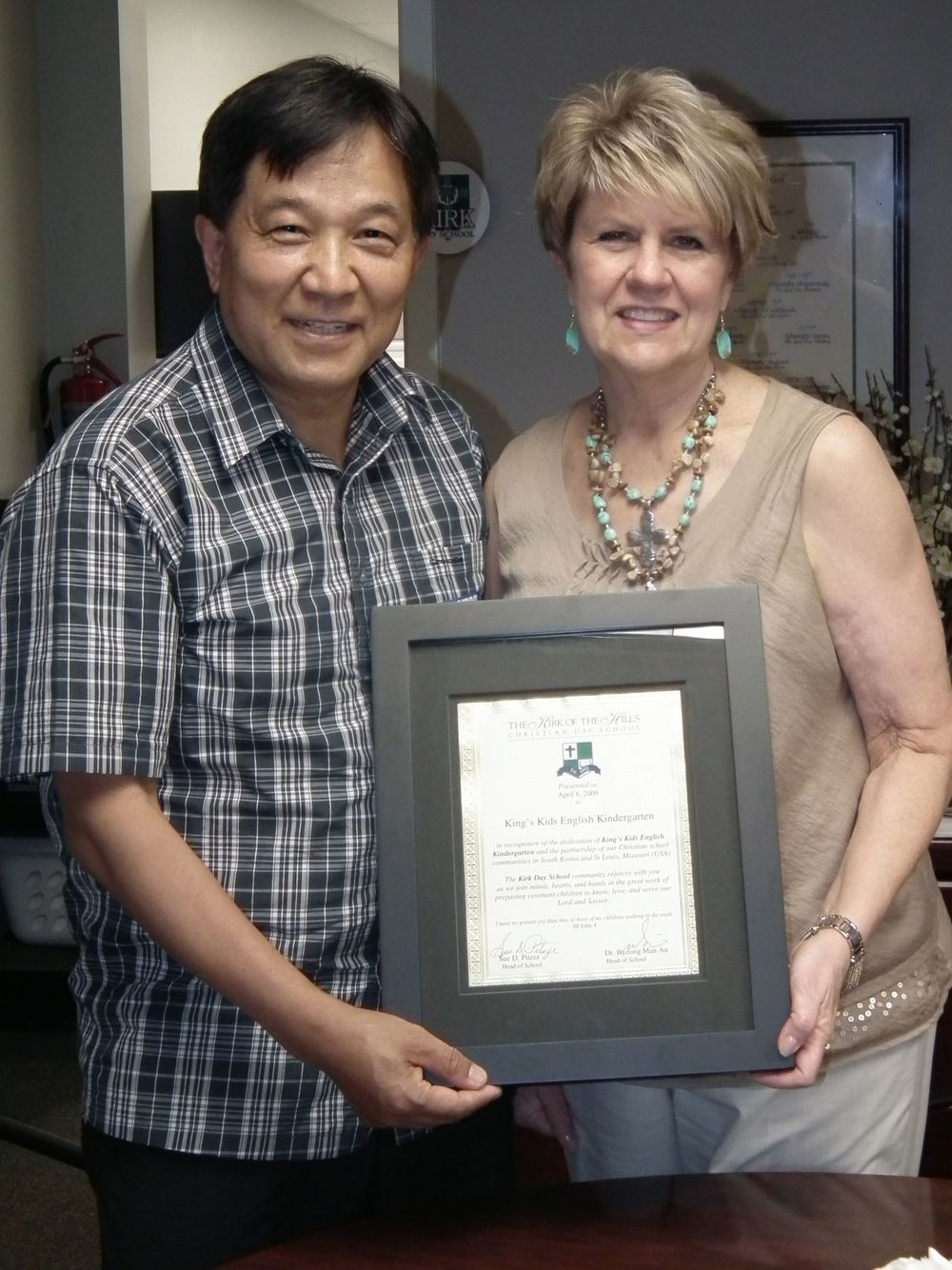 Byeong Man An, King's Kids English Kindergarten Principal, with former KDS Head of School Sue Pitzer.