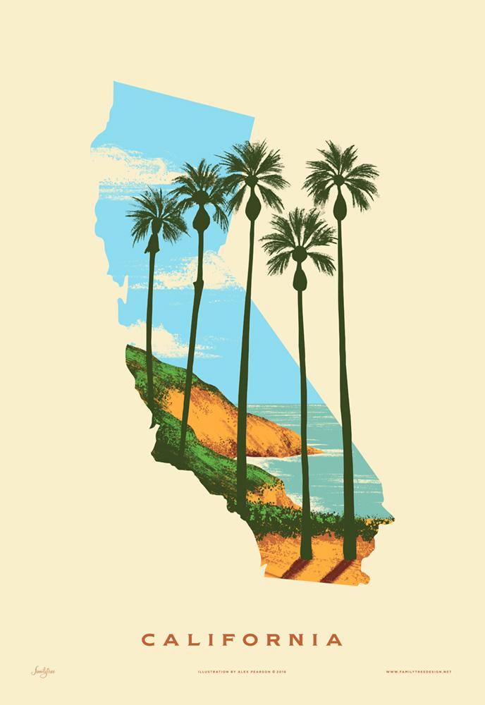 California State Print Best Coast Familytree