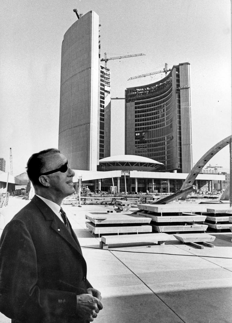 Aldus T. Vernon overlooks construction of Icarus Headquarters 1960.jpg