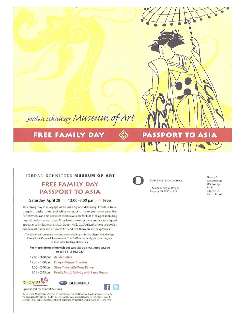 "Postcard for JSMA event ""Free Family Day: Passport to Asia"""