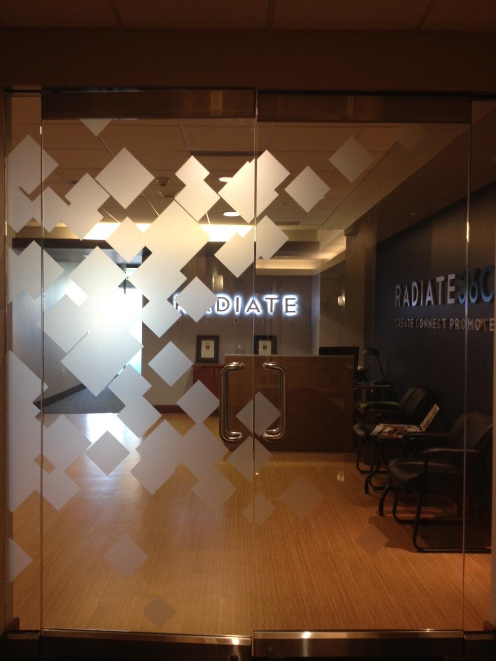 Main Entryway Door Decal, Radiate Media Office, Salt Lake City, UT