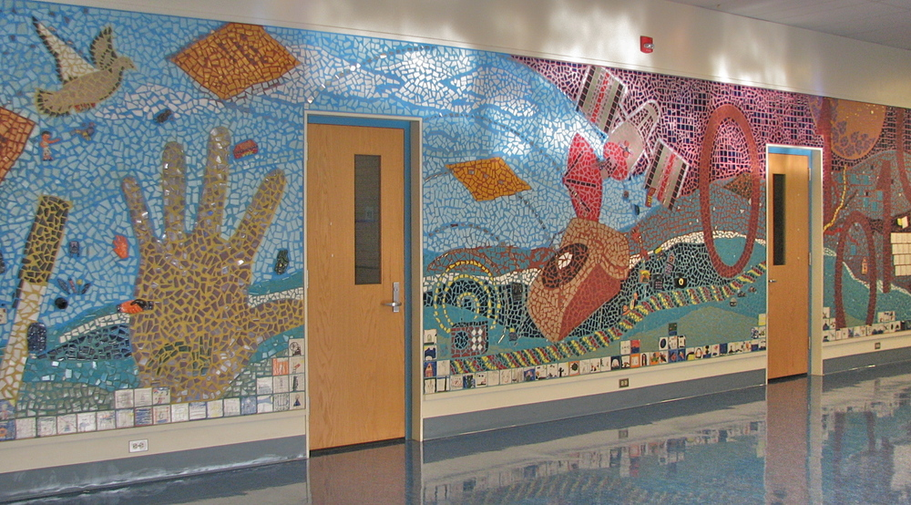 The mural spans the entire entrance lobby