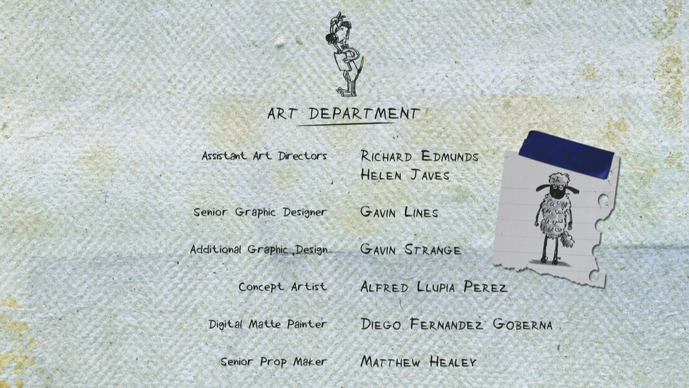 A snapshot from the credits sequence - SO stoked to have my name amongst those greats!| ©Aardman Animations