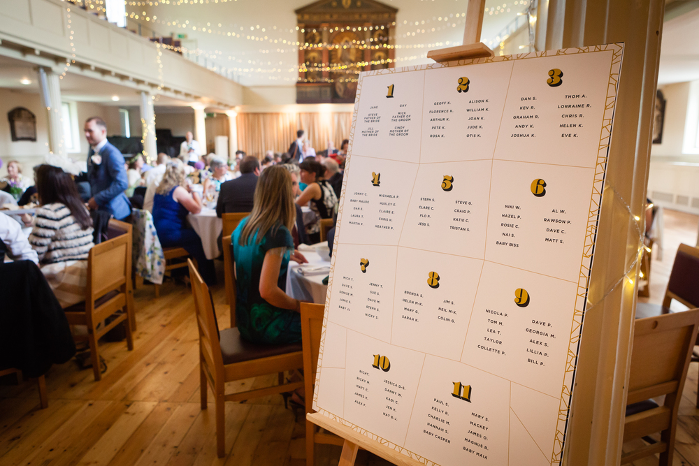 Our seating plan was printed on A1 foamboard, with 'Worthe Numerals' and 'Gotham Bold' typography