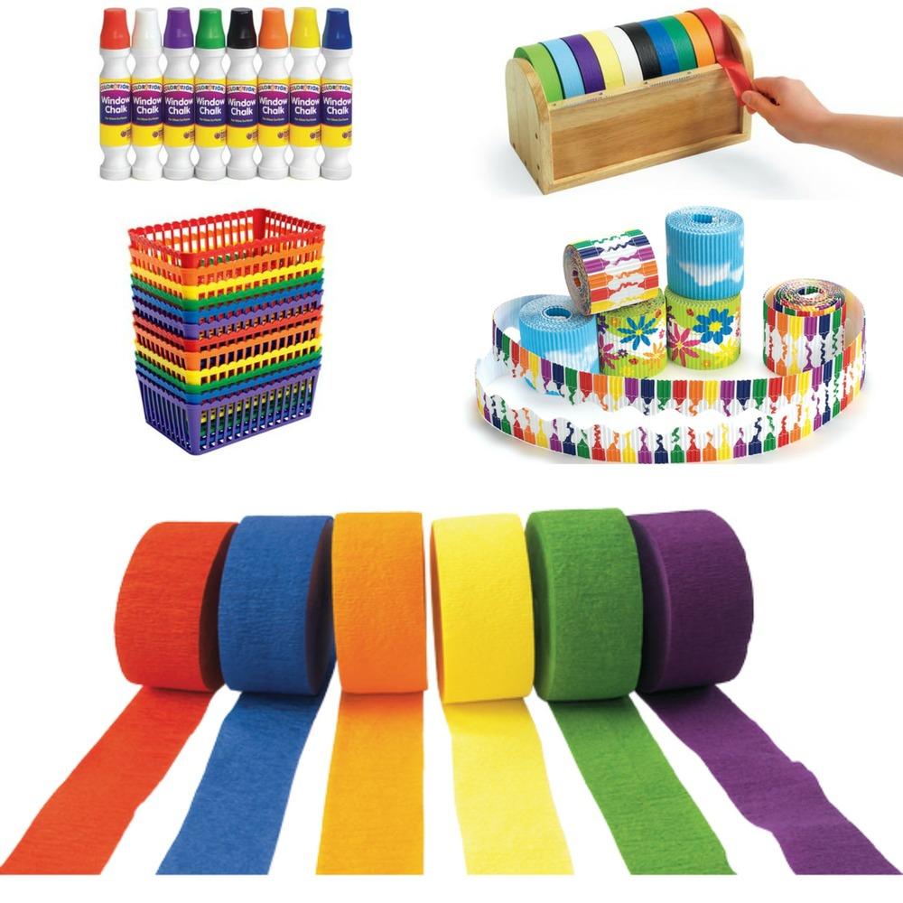 Clockwise From Top Left: Window Chalk, Colored Masking Tape, Printed Corrugated Boarders, Crepe Paper Streamers and Rainbow Class Baskets. (see links below)