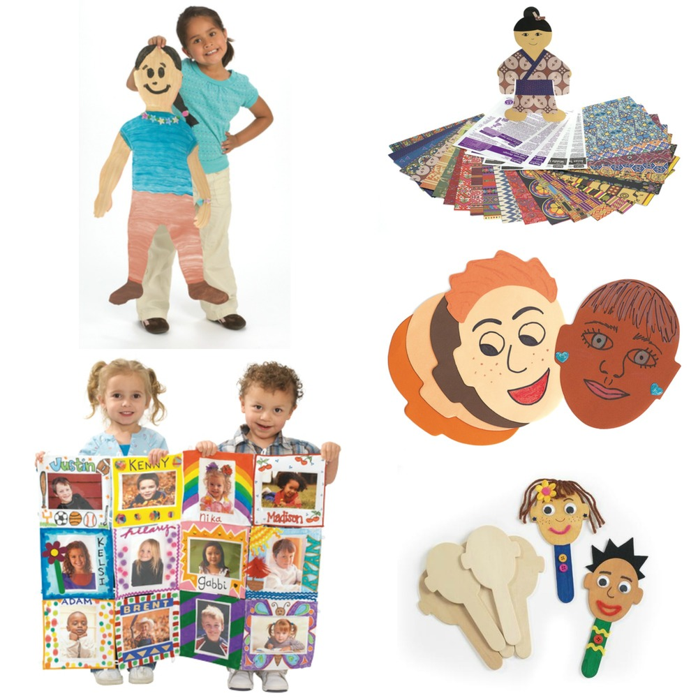 Clockwise From Top Left: Jumbo Finger-Paint Paper Kids, World paper Classroom Pack, Face Pads, Craft Stick Faces and Classroom Canvas Picture Quilt. (see links below)