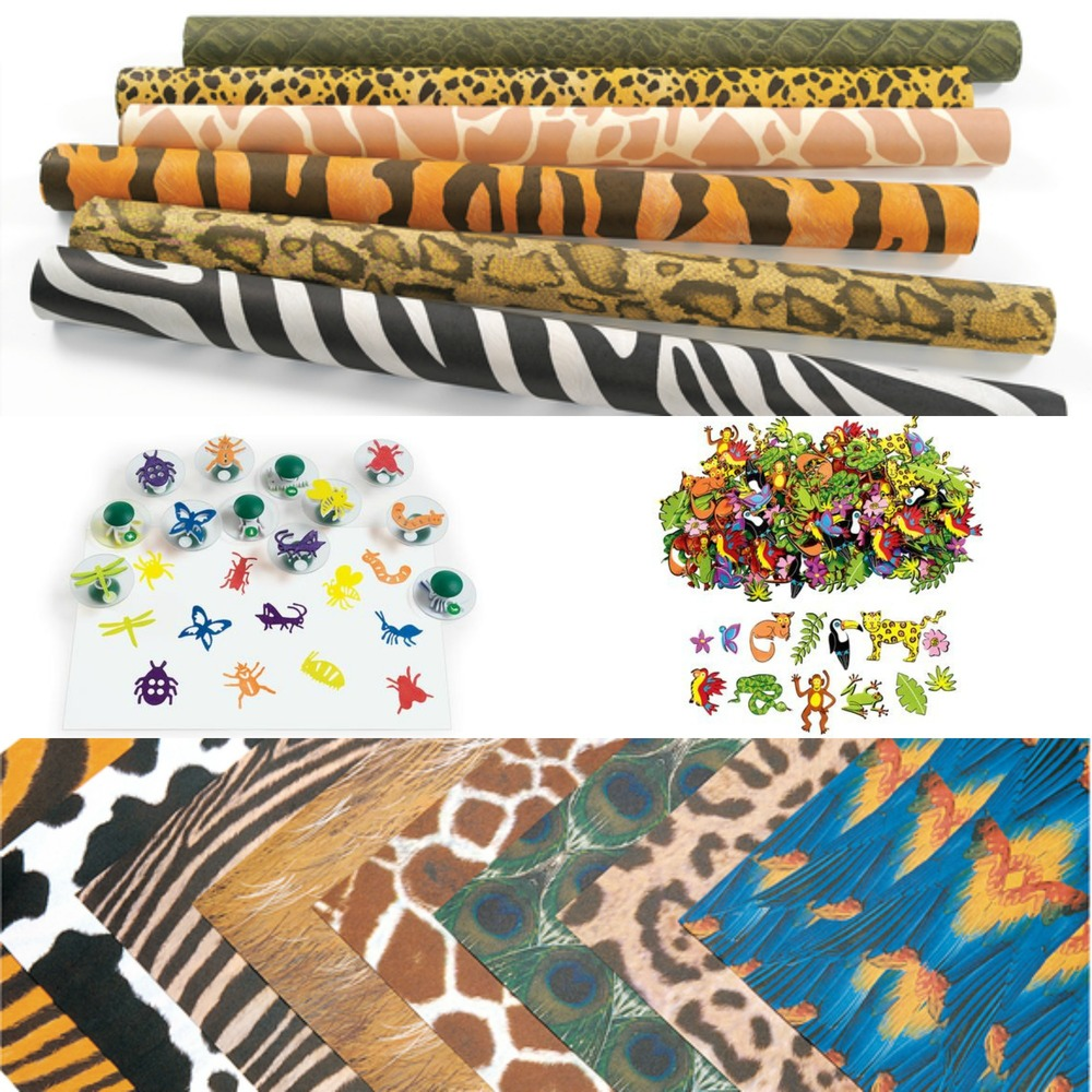 Clockwise From Top: Fadeless Safari Prints, Craft-A-Scene Foam Shapes, Amazing Animal Paper and Easy Grip Stampers. (see links below)