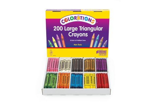 CLRTRI  – Colorations Triangular Crayon Classpack, set of 200
