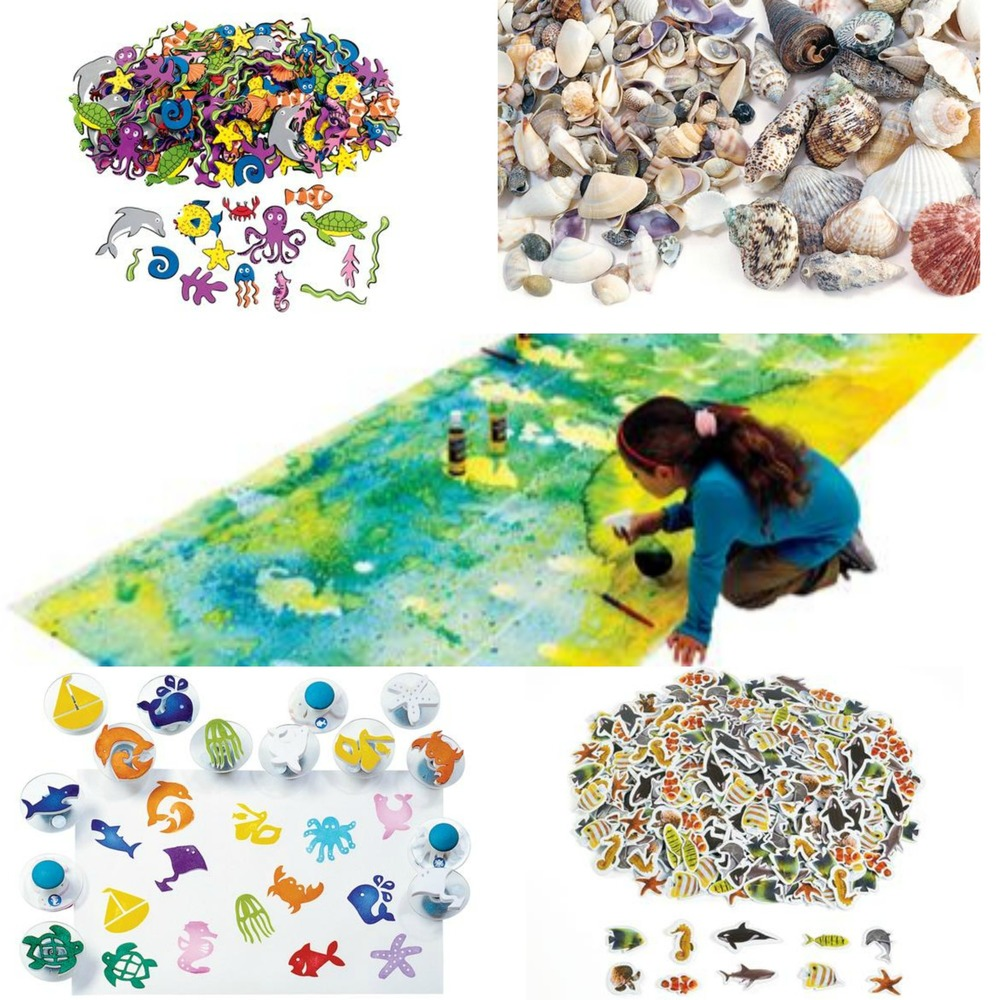 Clockwise From Top: Craft-a-Scene Foam Shapes, Shells, Cooperative Mural (center), Easy-Grip Stampers and Real Photo Seal Life Foam Stickers . (see links below)