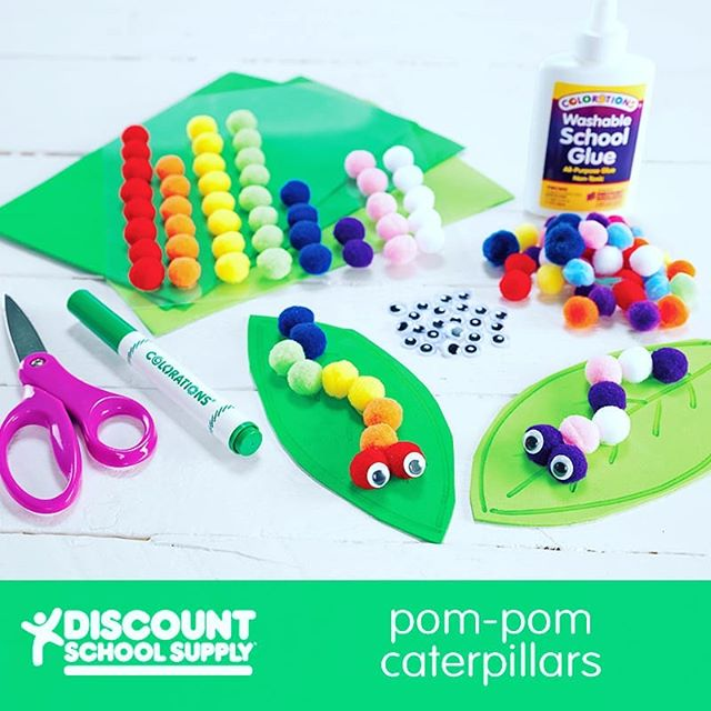 Pom-Pom Caterpillar - http://bit.ly/2q5FIcf An Activity for Preschoolers: Caterpillars are an amazing insect for celebrating Earth Day!  Before You Begin: This simple activity requires just a few mess-free materials: green foam sheets, self-adhesive pom-poms and self-adhesive wiggly eyes.  Activity Goals:  To create a cute caterpillar while celebrating Earth Day and building fine motor skills.  Furthermore: This is a great activity to accompany lessons on metamorphosis. Allow students to express their individuality by using different colors of pom-poms.  1) Cut leaf shapes from green foam sheets. 2) Draw leaf details onto the cut foam with a marker. 3) Create a caterpillar by placing self-adhesive pom-poms in a line on the leaf. Children should be encouraged to create caterpillars of different lengths, colors and shapes. 4) Add wiggly eyes to bring your caterpillar to life!  #learningthroughplay #sensoryplay #earlylearning101 #invitationtoplay #learningthroughplay #earlylearning #preschool #toddler #toddleractivities #totschool #toddlerlearning #teachingtoddlers #playmatters #earlyeducation #teachingathome #homeeducation #toddlertime #earlylearning101 #getcreativewith #invitationtocreate #oursensorykids #toddlercrafts  #steamkidschallenge #steam