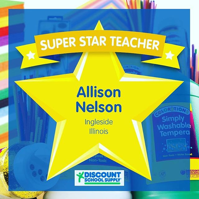 "WINNER! Our 1st winner of our Super Star Teacher Contest is Allison Nelson from Ingleside, Illinois!  She was nominated by Patricia Millea who stated, "" ""Allison is the most dedicated teacher I have known in 30 years working in the school situation.  He lessons are creative and individualized to each specific student. She is well respected by all in the building.  She currently spends about one thousand dollars of her own money on supplies each year."" Congrats Allison! You will be getting your $100 Shopping Spree Gift Cert soon and keep up the great work!  #TAW2018 #teacherappreciationweek #superstar #teachersareawesome #contest #entertowin #learningthroughplay #sensoryplay #earlylearning101 #invitationtoplay #learningthroughplay #earlylearning #preschool #toddler #toddleractivities #totschool #toddlerlearning #teachingtoddlers #playmatters #earlyeducation #teachingathome #homeeducation #toddlertime #earlylearning101 #getcreativewith #invitationtocreate #oursensorykids #toddlercrafts  #steamkidschallenge #steam"