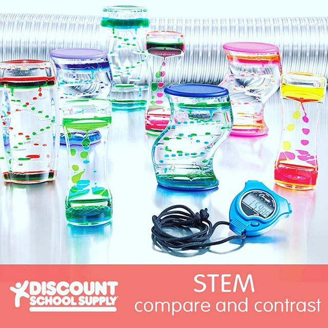 STEM: Compare and Contrast http://bit.ly/2L9NH0b An Activity for Preschoolers: A STEM activity promoting Science.  Before You Begin: Make sure to clear enough space on a flat surface for children to do this activity. Activity Goals:  To support observation skills.  Furthermore: Use the timer sets to indicate a time limit in the classroom. For example, turn a time over and challenge the children to have the room clean before the timer finishes.  1) Have each child select a liquid timer. 2) Let the timers drip and have children make observations. 3) As a group, ask each child to identify and discuss characteristics of their timers. 4) Write their responses down on a chart. 5) Repeat for various times. 6) Another option is to have children guess the amount of time each liquid timer set has. Use a stopwatch to determine real time. #invitationtoplay #learningthroughplay #earlylearning #preschool #toddler #toddleractivities #totschool #toddlerlearning #teachingtoddlers #playmatters #earlyeducation #teachingathome #homeeducation #toddlertime #oursensorykids #earlylearning101 #getcreativewith #kidartlit #toddlercrafts #toddlerart #littleartist #craftsforkids #kidscrafts101 #invitationtocreate #steam