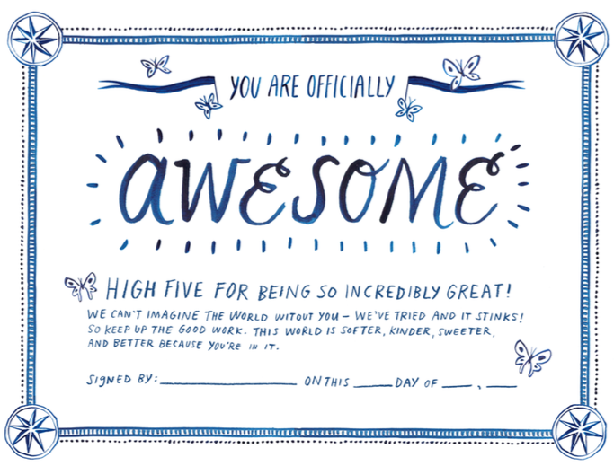 Printable certificate of awesomeness for Certificate of awesomeness template