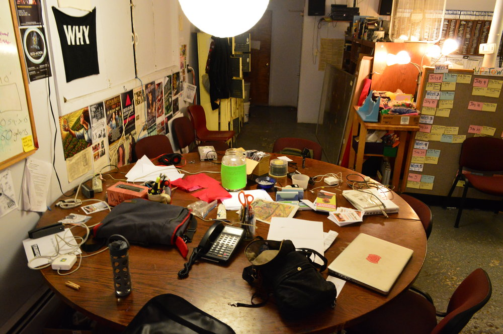 The work table at the Sanctuary for Independent Media.