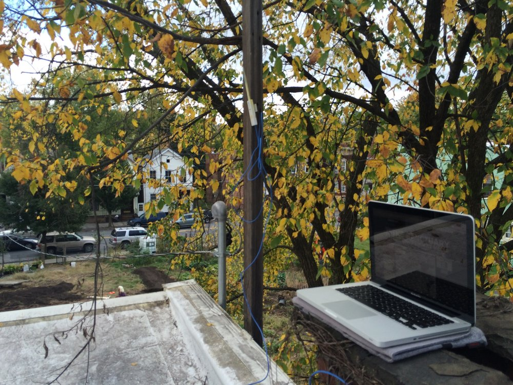 A Wi-Fi antenna is tested outside of an urban garden.