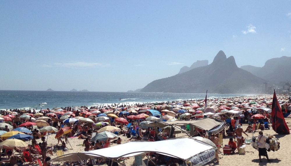 Thousands of people gather on Ipanema Beach