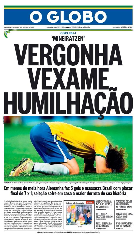 """Newspaper cover from daily """"O Globo"""" the day after Belo Horizonte match"""