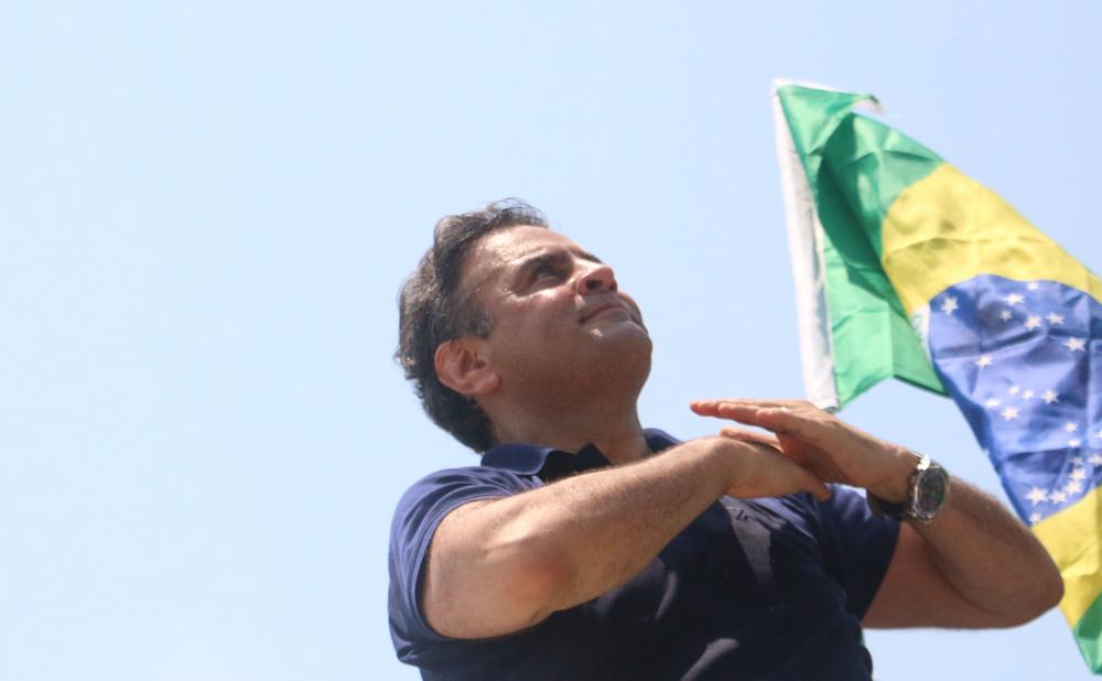 Candidate Aécio Neves campaigns in Copacabana, Rio de Janeiro