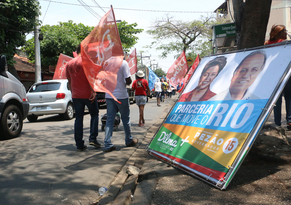 Workers Party supporters participate in campaign rally in Rio de Janeiro