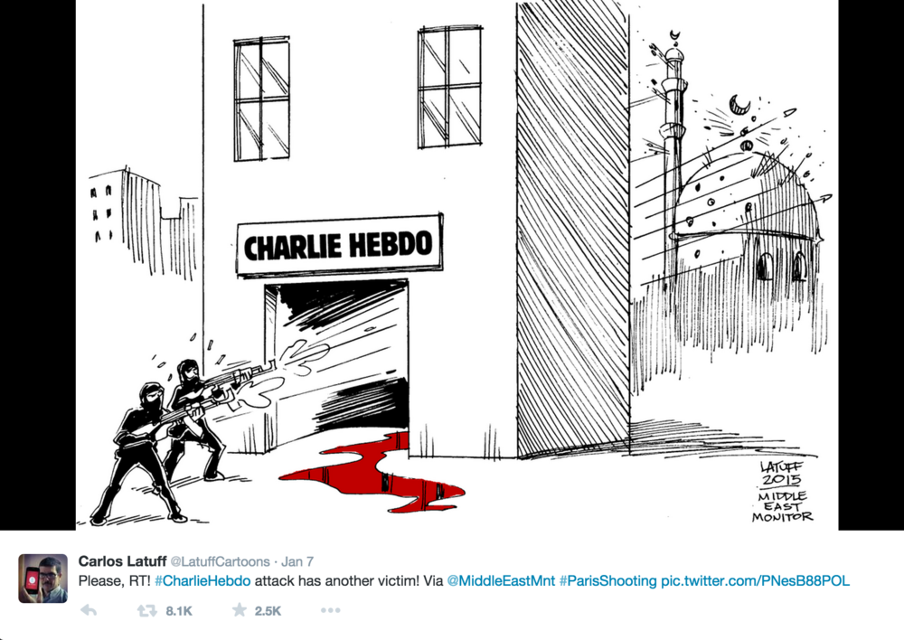 Brazilian cartoonist Carlos Latuff reacts to Charlie Hebdo attack and the backlash against France's Muslim population.