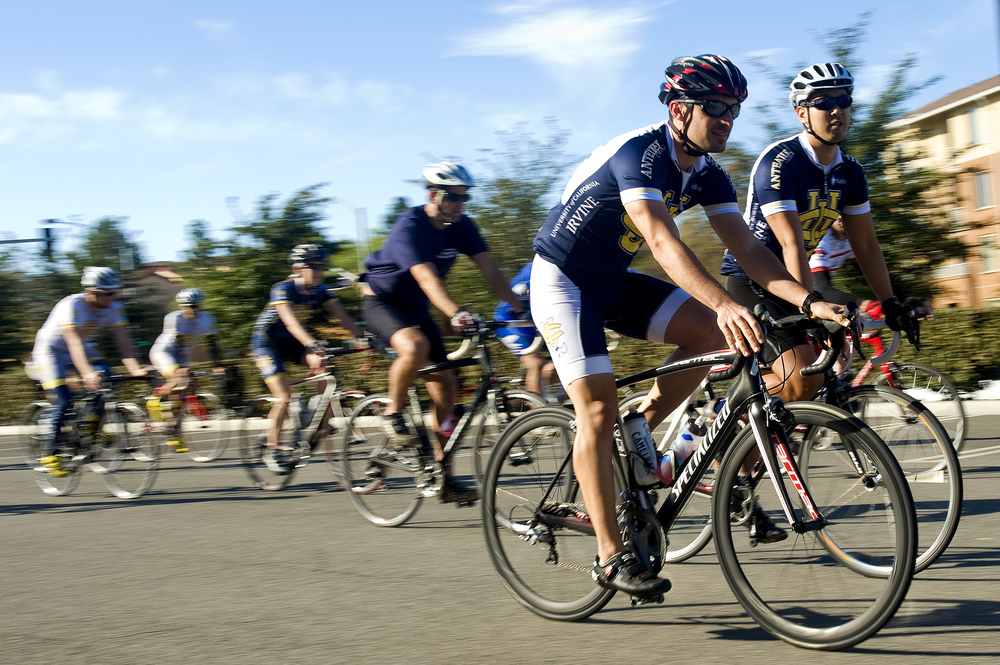 IRVINE, CA   A group of cyclists take off on the starting line at UC Irvine on Saturday morning and begin the 25 mile tour of Irvine; about 50 cyclists were participating in the fundraising bicycle tour.