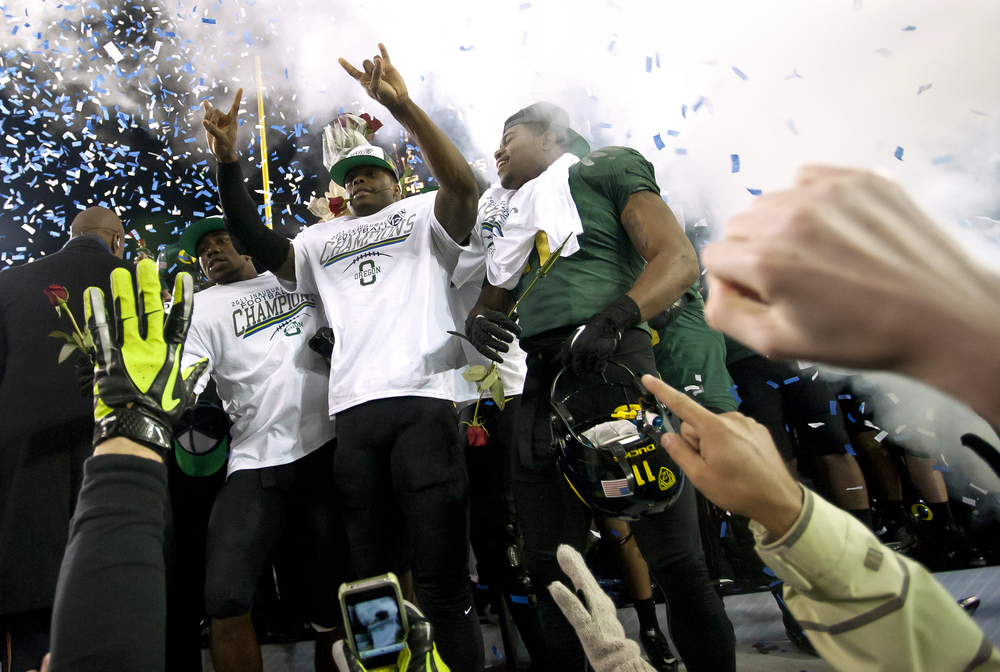 EUGENE, OR   The Oregon Ducks are honored the first Pac-12 Championship Game in a post-game ceremony on December, 2, 2011.