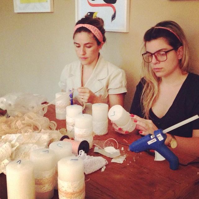 Pré produção velas. Rafa e a noiva Lu