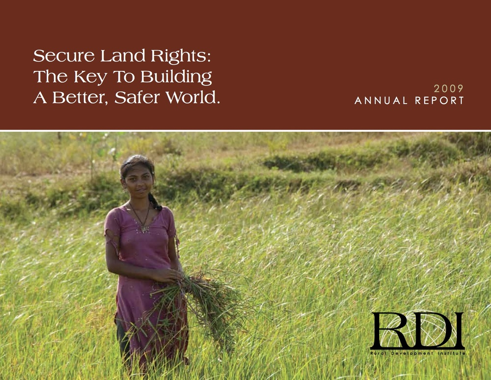 Rural Development Institute (RDI) Annual Report 2009.  RDI is the former name of Landesa.