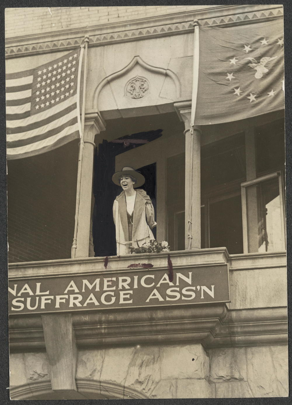 US congresswoman Jeanette Rankin speaks   from the headquarters of the National American    Women Suffrage Association, 1917. Three years   later, American women had the right to vote.   Photo: Library of Congress.