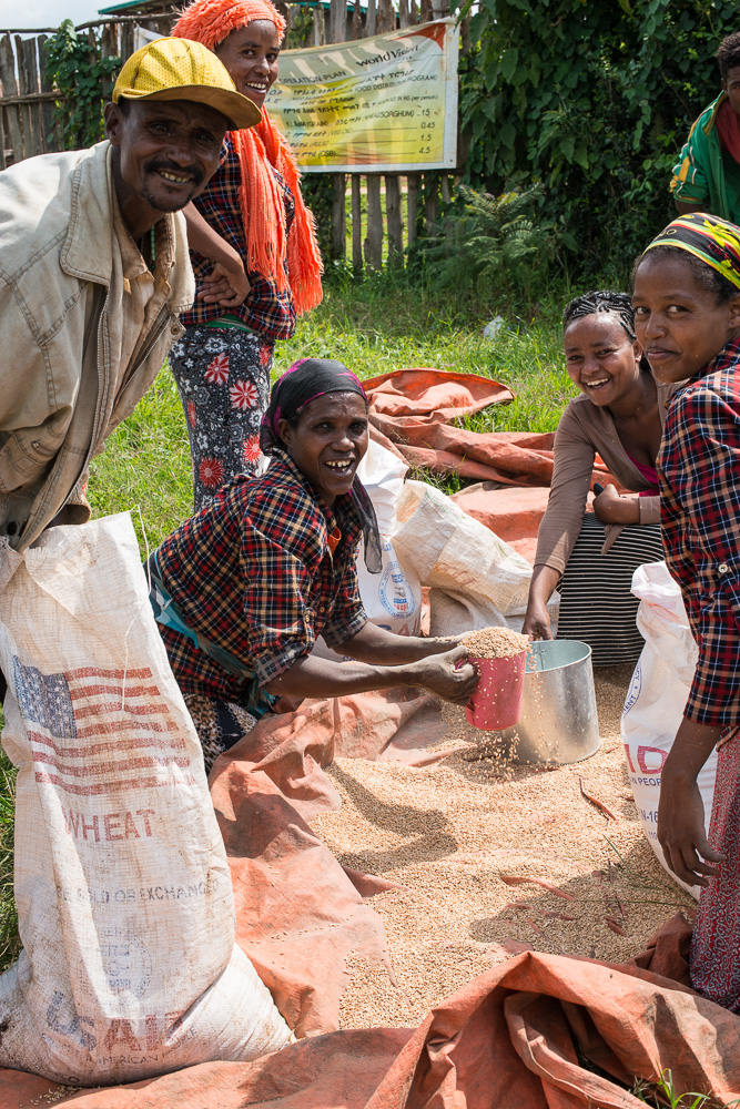 Ethiopia is experiencing one of the worst droughts in its history due to the lingering effects of El Nino. In 2016, USAID provided $515.6 million in food aid to Ethiopian families, who pick up the food at the local government office.